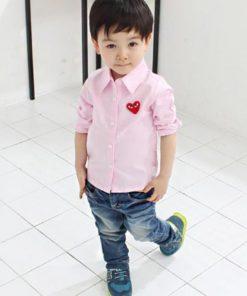 bo0003 ชุดเด็กเสื้อเชิ้ตสีชมพู กางเกงยีนส์ ติดโลโก้ Play