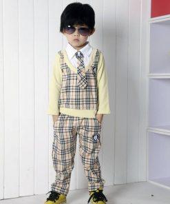 bo0019 ชุดออกงานเด็กผู้ชายเสื้อคอปกแขนยาวลายสก๊อต ติดเนคไท (ถอดออกได้) กางเกงขายาวสีเบจ (2ชิ้น)