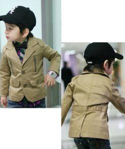 bo0020 เสื้อคลุม/เสื้อแจ๊คเก็ตเด็กผู้ชาย ใส่ออกงานได้ แขนยาวแต่งซิบที่อก 2 ด้าน สีน้ำตาล