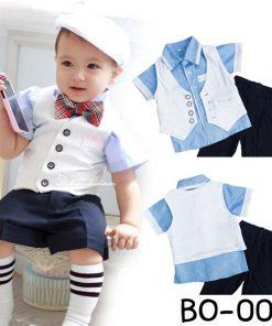 BO0014 ชุดออกงานเด็กผู้ชาย เสื้อเชิ๊ตแขนสั้นสีฟ้า หูกระต่าย กั๊กสีขาว กางเกงสีดำ (4ชิ้น)