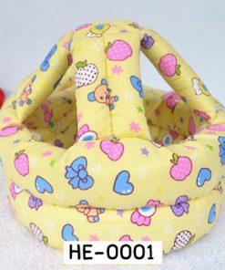 HE0001 หมวกกันน๊อคเด็ก หมวกกันกระแทกเด็ก สีเหลืองลายลูกกวาด (40-53cm)